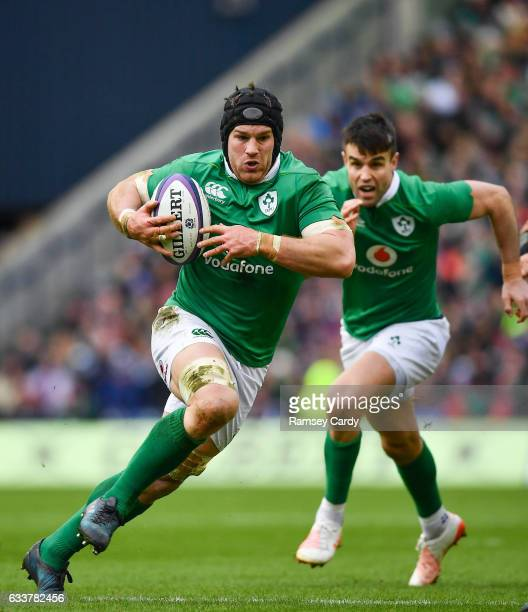 Edinburgh United Kingdom 4 February 2017 Sean O'Brien of Ireland makes a break during the RBS Six Nations Rugby Championship match between Scotland...