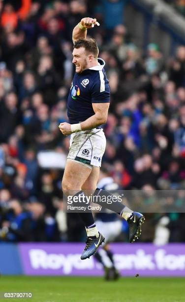 Edinburgh United Kingdom 4 February 2017 Stuart Hogg of Scotland celebrates his side's victory at the final whistle of the RBS Six Nations Rugby...