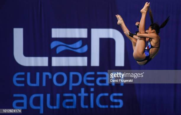 Edinburgh United Kingdom 7 August 2018 Lois Toulson and Eden Cheng of Great Britain competing in the Women's Synchronised 10m Platform final during...