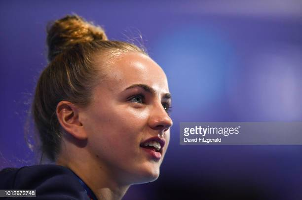 Edinburgh United Kingdom 7 August 2018 Lois Toulson of Great Britain looks up at family and supporters after receiving her gold medal for the Women's...
