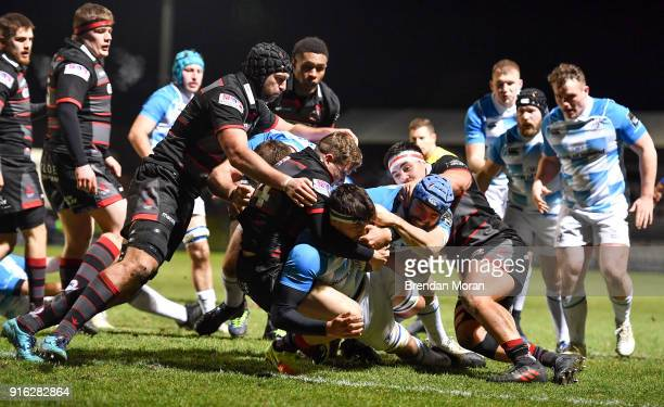 Edinburgh United Kingdom 9 February 2018 Max Deegan of Leinster goes over to score his side's first try during the Guinness PRO14 Round 14 match...