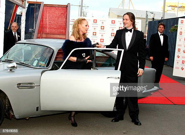 Swiss Hollywood film star Ursula Andress arrives with her son Dimitri Hamlin at The Royal Yacht Britannia in Edinburgh Scotland 18th May 2006 to take...