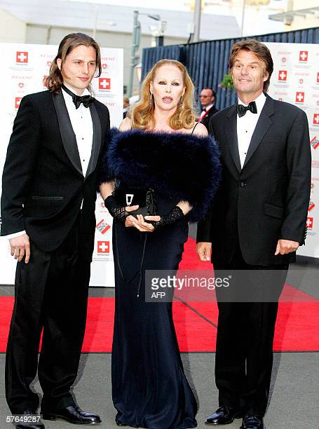 Swiss Hollywood film star Ursula Andress arrives with her son Dimitri Hamlin and former partner Harry Hamlin at The Royal Yacht Britannia in...
