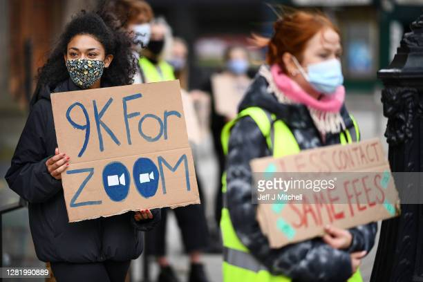 Edinburgh University students protest against the false promise of 'hybrid learning' to new and returning students during the Covid-19 pandemic on...