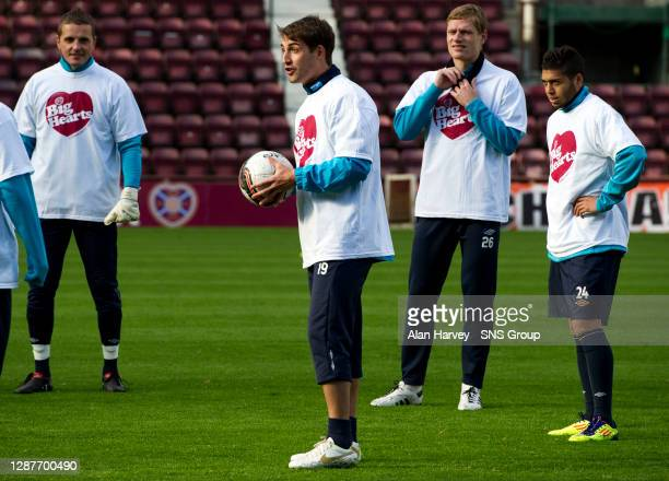 Hearts ace Rudi Skacel gets on the ball at training