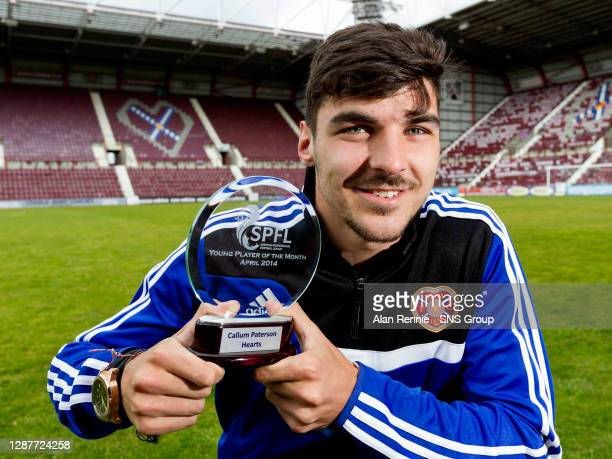 Hearts' Calum Paterson receieves the SPFL Young player of the Month award for April.