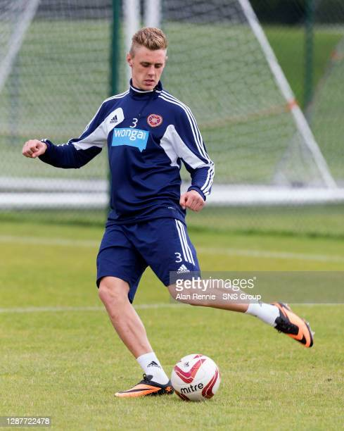 Hearts' Kevin McHattie is put through his paces at training.