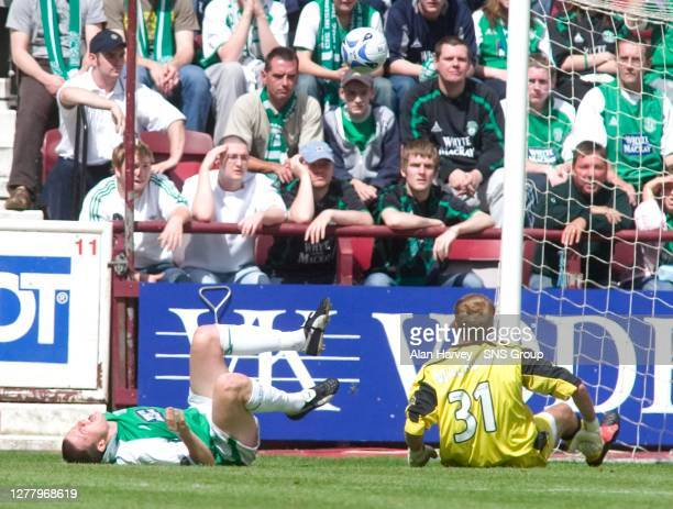 Hibs skipper Gary Caldwell goes down in a heap after bad collision with his own keeper Zbigniew Malkowski