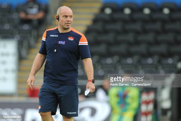 Edinburgh's Head Coach Richard Cockerill during the Guinness Pro14 Round 1 match between Ospreys and Edinburgh Rugby at Liberty Stadium on August 31...
