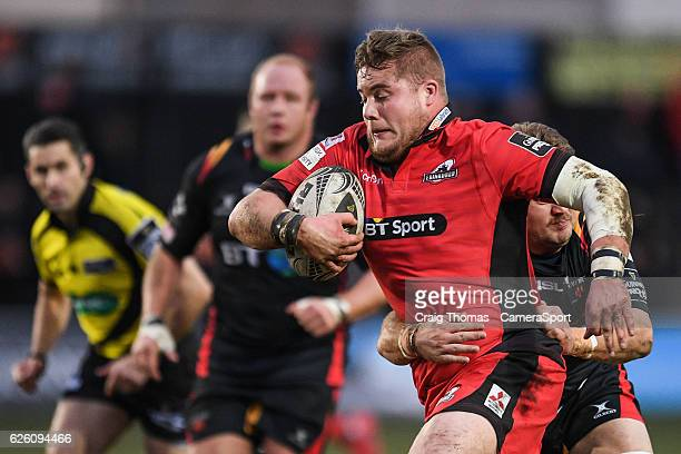 Edinburgh's Murray McCallum is tackled by Dragons' Lewis Evans during the Guinness PRO12 Round 9 match between Newport Gwent Dragons and Edinburgh...