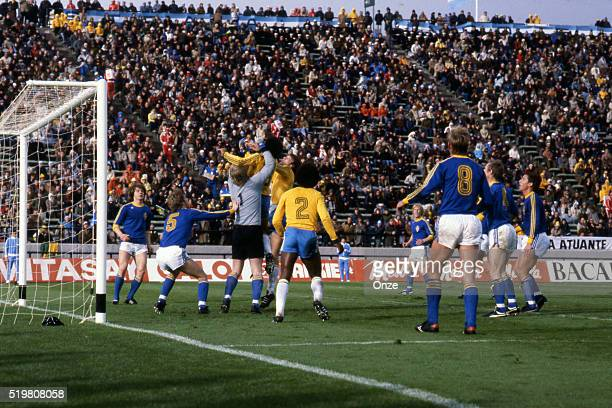 Edinho and Ronnie Hellstrom during the match between Brazil and Sweden played at Mar Del Plata Argentina on June 3rd 1978