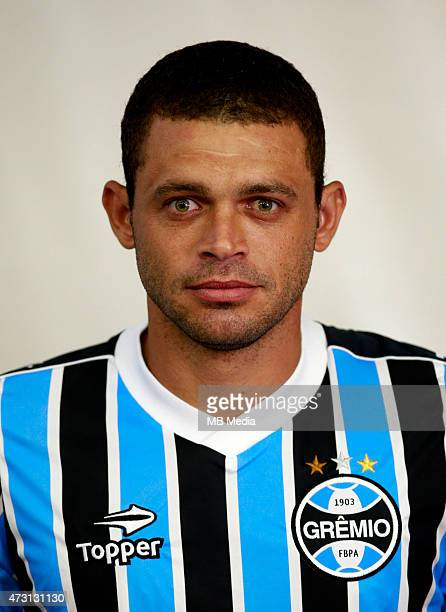 Edinho of Gremio FootBall Porto Alegrense poses during a portrait session on August 14 2014 in Porto AlegreBrazil