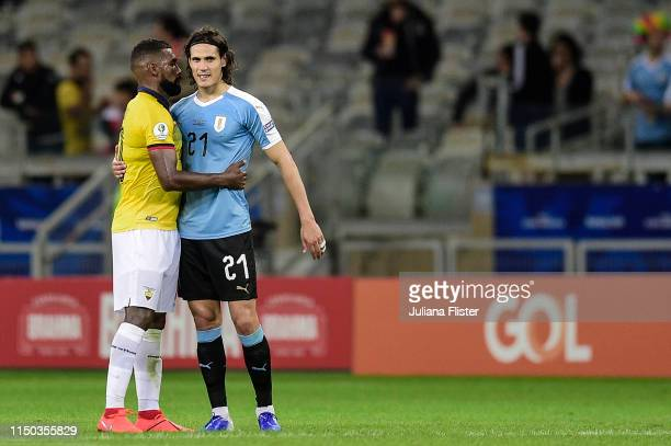 Edinson Cavani and Gabriel Achilier of Uruguay embrace after the Copa America Brazil 2019 group C match between Uruguay and Ecuador at Mineirao...