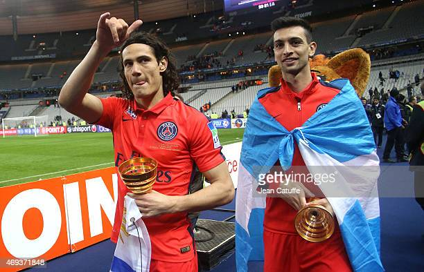 Edinson Cavani and Javier Pastore of PSG celebrate the victory after the French League Cup final between Paris SaintGermain FC and Sporting Club de...