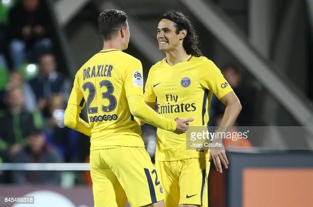 Edinson Cavani and Julian Draxler of PSG during the French Ligue 1 match between FC Metz and Paris Saint Germain at Stade SaintSymphorien on...