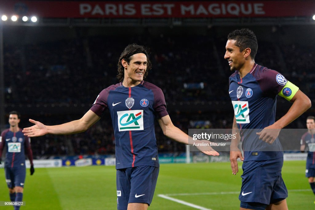 Edinson Cavani and Marquinhos of Paris Saint-Germain reacts after Adrien Rabiot scored the first goal during the French National Cup match between Paris Saint Germain and Dijon FCO at Parc des Princes on January 24, 2018 in Paris.
