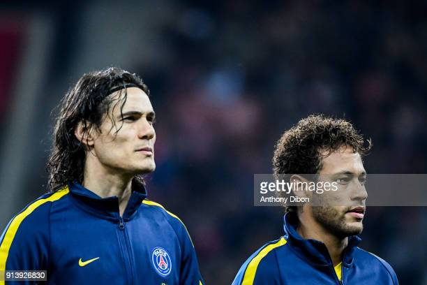 Edinson Cavani and Neymar JR of PSG during the Ligue 1 match between Lille OSC and Paris Saint Germain PSG at Stade Pierre Mauroy on February 3 2018...