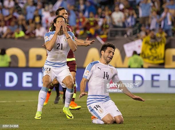 Edinson Cavani and Nicolas Lodeiro of Uruguay react after a shot went wide against Venezuela during the 2016 Copa America Centenario Group C match at...