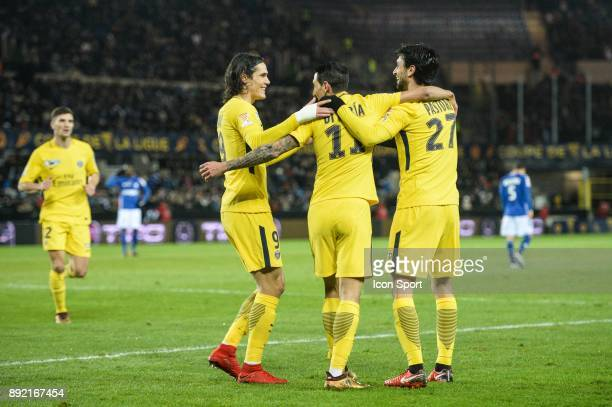Edinson Cavani Angel di Maria and Javier Pastore of PSG celebrate his goal during the french League Cup match Round of 16 between Strasbourg and...