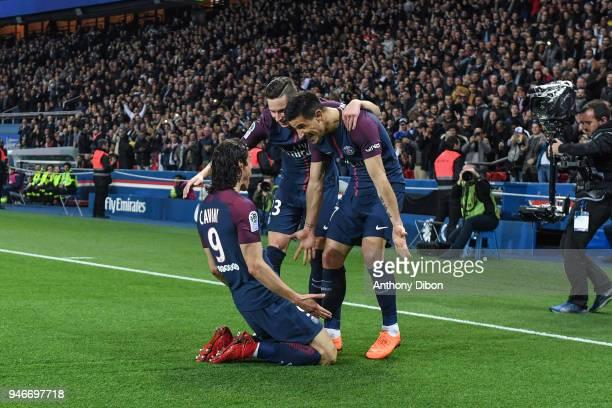 Edinson Cavani celebrates his goal with Julian Draxler and Yuri Berchiche of PSG during the Ligue 1 match between Paris Saint Germain PSG and AS...