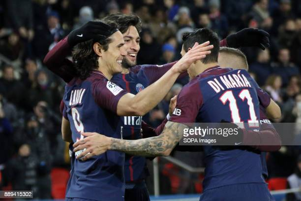 Edinson Cavani Javier Pastore and Angel Di Maria during the French Ligue 1 soccer match between Paris Saint Germain and Lille at Parc des Princes