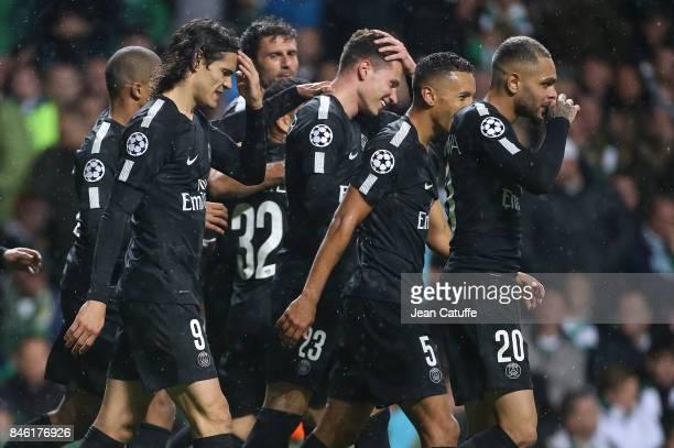 Edinson Cavani Julian Draxler Layvin Kursawa of PSG and teammates celebrate the fourth goal during the UEFA Champions League match between Celtic...