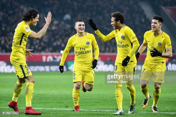 Edinson Cavani Marco Verratti Neymar Jr and Yuri Berchiche of PSG celebrates a goal during the Ligue 1 match between Lille OSC and Paris Saint...