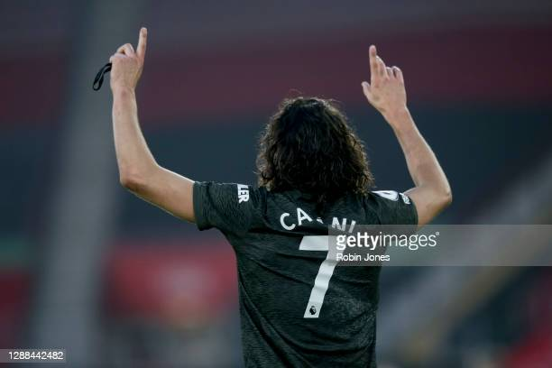 Edinson Cavani of Manchester United after he scores his side's winner in their 32 victory during the Premier League match between Southampton and...
