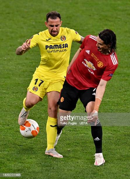 Edinson Cavani of Manchester United battles for possession with Paco Alcacer of Villarreal CF during the UEFA Europa League Final between Villarreal...