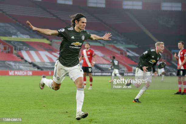 Edinson Cavani of Manchester United celebrates after he heads in and scores a goal to make it 32 during the Premier League match between Southampton...