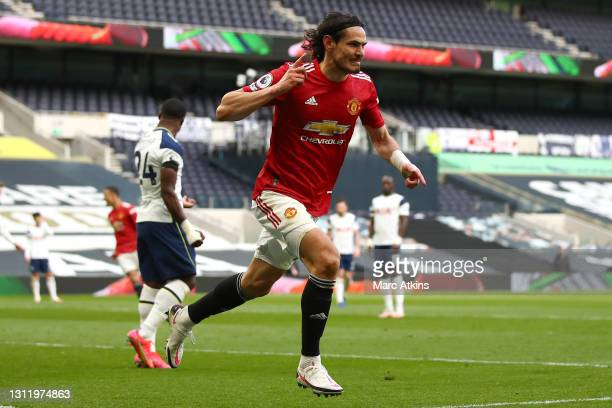 Edinson Cavani of Manchester United celebrates after scoring his team's second goal during the Premier League match between Tottenham Hotspur and...