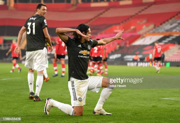 Edinson Cavani of Manchester United celebrates after scoring their team's second goal during the Premier League match between Southampton and...
