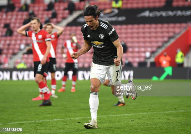 Edinson Cavani of Manchester United celebrates after scoring their sides second goal during the Premier League match between Southampton and...