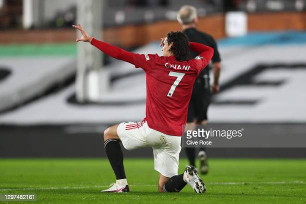 Edinson Cavani of Manchester United celebrates after scoring their team's first goal during the Premier League match between Fulham and Manchester...