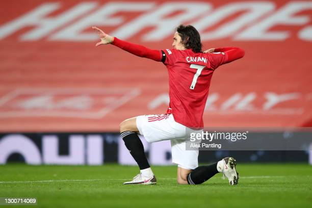 Edinson Cavani of Manchester United celebrates after scoring their team's first goal during the Premier League match between Manchester United and...