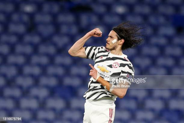 Edinson Cavani of Manchester United celebrates after scoring their side's first goal during the UEFA Europa League Semi-final Second Leg match...