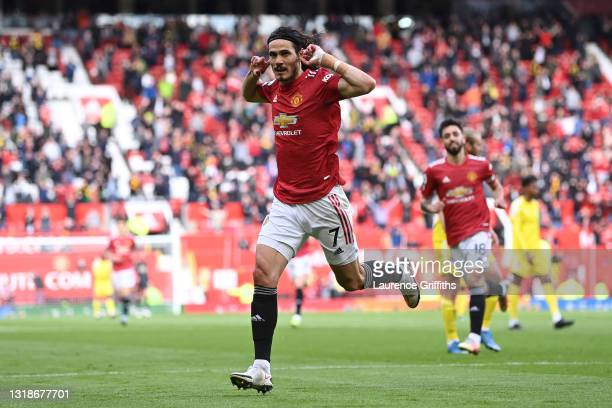 Edinson Cavani of Manchester United celebrates after scoring their side's first goal during the Premier League match between Manchester United and...