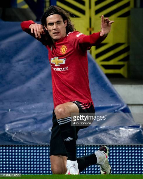 Edinson Cavani of Manchester United celebrates scoring a goal to make the score 0-1 during the Carabao Cup Quarter Final match between Everton and...