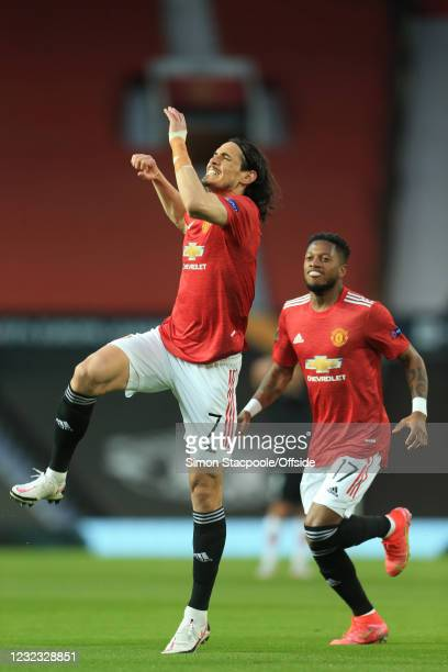 Edinson Cavani of Manchester United celebrates scoring the opening goal during the UEFA Europa League Quarter Final Second Leg match between...