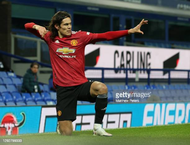 Edinson Cavani of Manchester United celebrates scoring their first goal during the Carabao Cup Quarter Final match between Everton and Manchester...