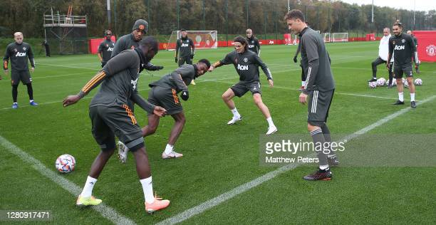 Edinson Cavani of Manchester United in action during a first team training session at Aon Training Complex on October 18 2020 in Manchester England