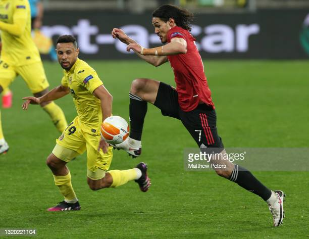 Edinson Cavani of Manchester United in action with Francis Coquelin of Villareal CF during the UEFA Europa League Final between Villarreal CF and...