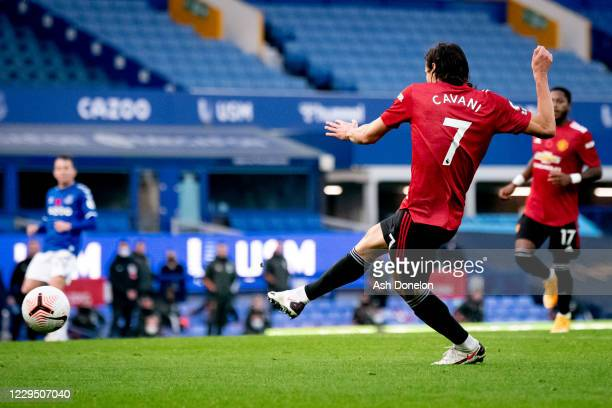 Edinson Cavani of Manchester United scores a goal to make the score 1-3 during the Premier League match between Everton and Manchester United at...