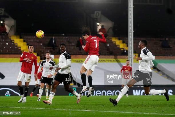 Edinson Cavani of Manchester United shoots during the Premier League match between Fulham and Manchester United at Craven Cottage on January 20, 2021...