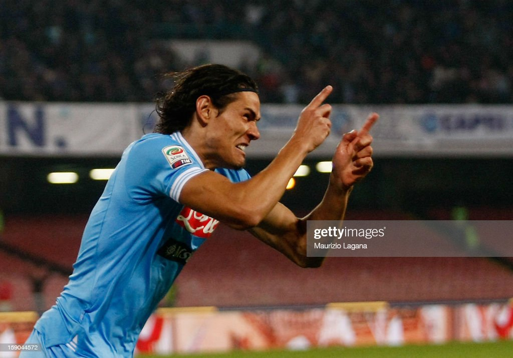 Edinson Cavani of Napoli celebrates after scores the opening goal during the Serie A match between SSC Napoli and AS Roma at Stadio San Paolo on January 6, 2013 in Naples, Italy.
