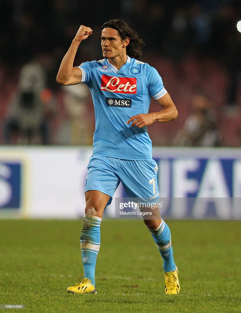 Edinson Cavani of Napoli celebrates after scoring his second goal during the Serie A match between SSC Napoli and AS Roma at Stadio San Paolo on January 6, 2013 in Naples, Italy.
