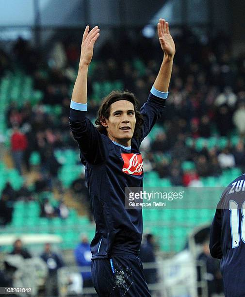 Edinson Cavani of Napoli celebrates after scoring his team's second goal during the Serie A match between Bari and Napoli at Stadio San Nicola on...