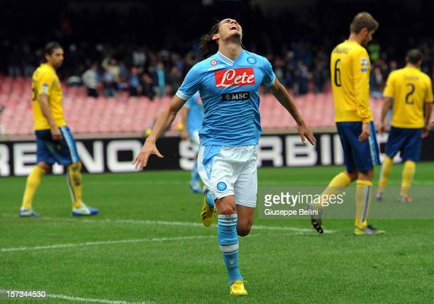 Edinson Cavani of Napoli celebrates after scoring the 4-1 goal during the Serie A match between SSC Napoli and Pescara Calcio at Stadio San Paolo on...