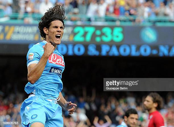 Edinson Cavani of Napoli celebrates after scoring the goal 11 during the Serie A match between SSC Napoli and AC Siena at Stadio San Paolo on May 12...