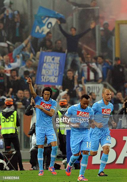 Edinson Cavani of Napoli celebrates after scoring the opening goal during the Tim Cup final match between Juventus FC and SSC Napoli at Olimpico...